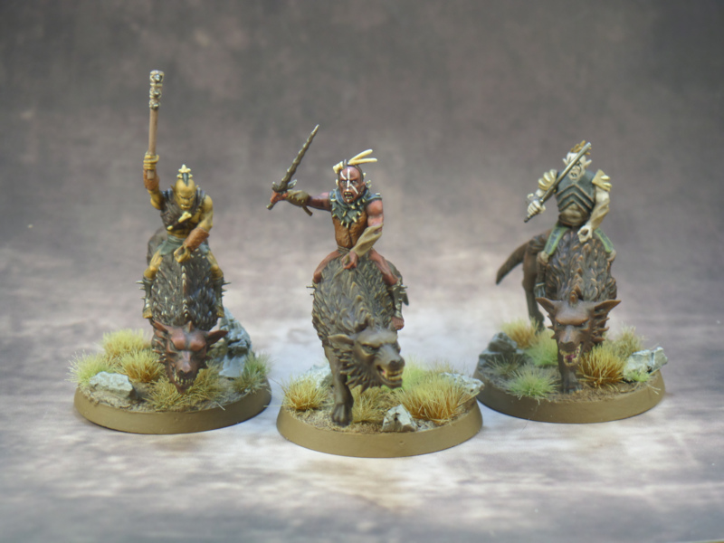 Three Hunter Orcs on Fell Warg Hobbit Strategy Battle Game Games Workshop