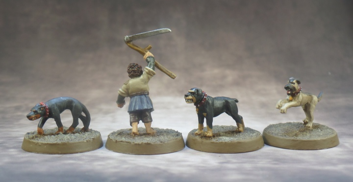 Farmer Maggot Grip, Fang, and Wolf Middle Earth Strategy Battle Game The Shire Games Workshop