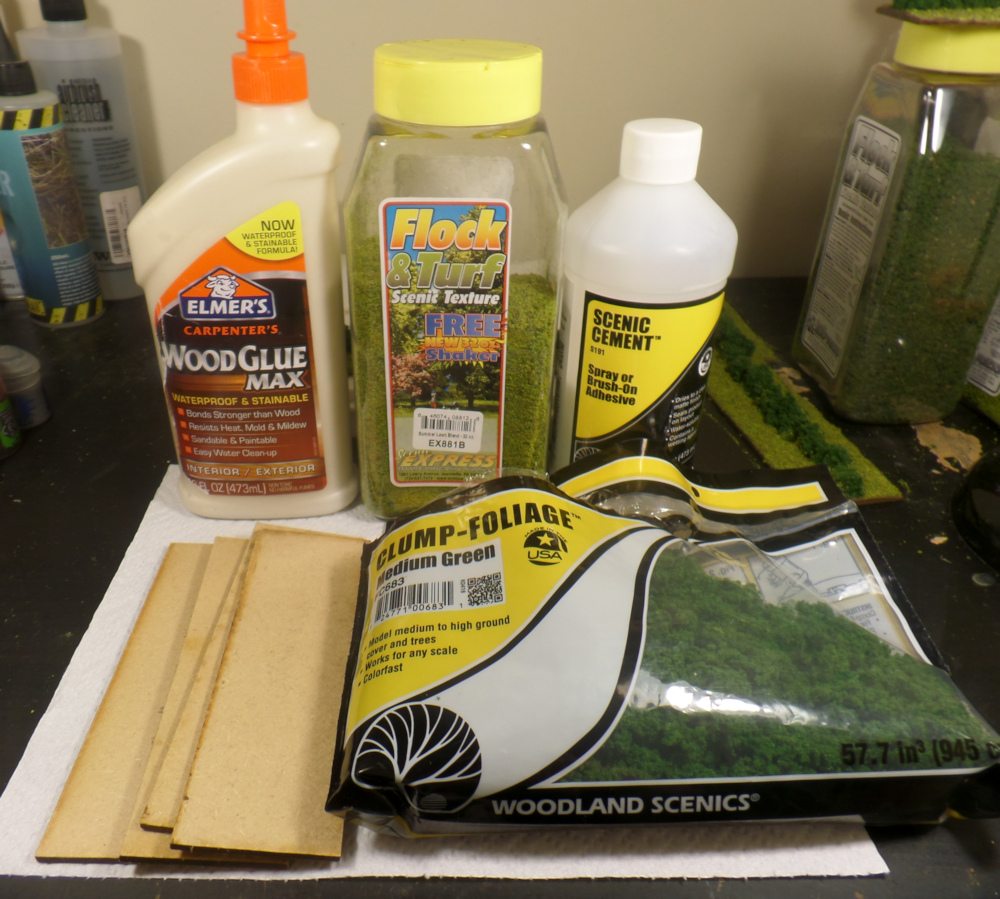 Elmer's Wood Glue, Scenic Cement, MDF Bases, Turf, and Woodland Scenics Clump Foliage