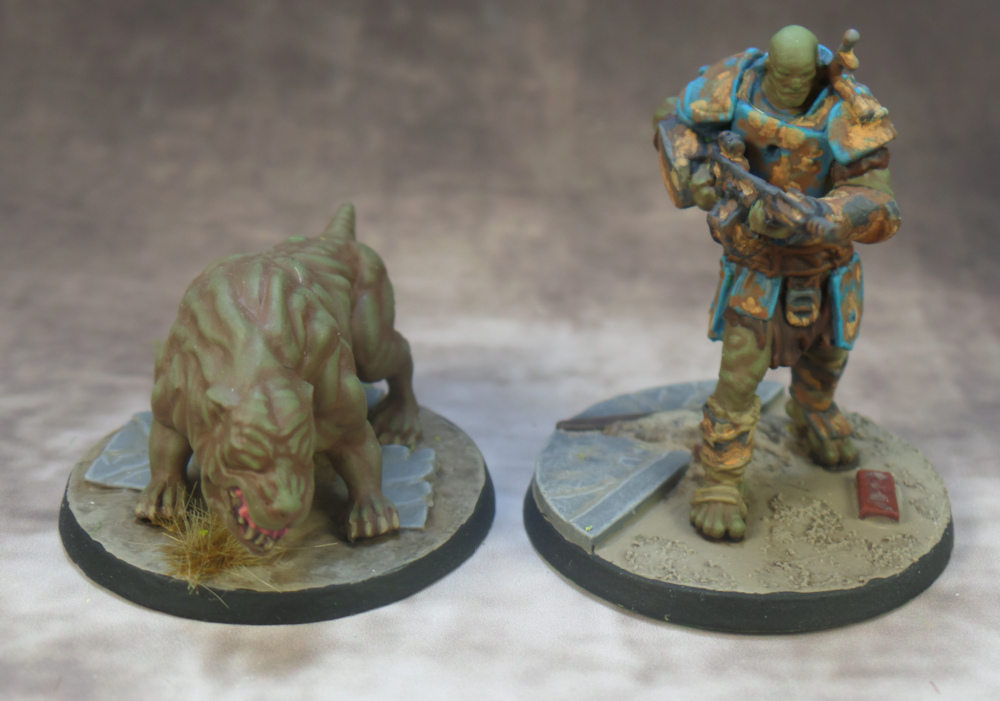 Super Mutant and Super Mutant Hound Fallout Wasteland Warfare Plastic Modiphius Starter Set